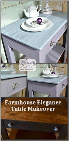 Farmhouse Elegance Table Makeover Collage- PlumDoodles.com