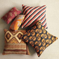 Kantha Quilted Pillow | west elm - the striped one!