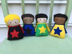 Mini Super Hero Diversity Doll Set of Four by AButtonAndAStitch
