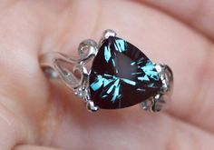 New Large 3 5ct 10mm Trillion Alexandrite Diamond Ring Color Change Silver SS   diggin the cut