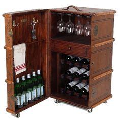 Vintage Steamer Trunk Wine Bar Cabinet - Image 2 of 13 Towel Storage, Wine Storage, Kitchen Storage, Vintage Steamer Trunk, Wine Bar Cabinet, Vintage Trunks, Home Entertainment, Home Decor Furniture, Bars For Home
