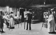 Emily Carr's painting class at the art school in St. Ives in the early 1900s. Carr is on the left with her back to the camera, wearing a hat and an apron. http://www.aci-iac.ca/emily-carr/biography