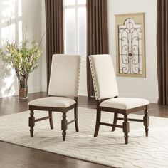 TRIBECCA HOME Flatiron Nailhead Upholstered Dining Chairs (Set of 2) - Overstock Shopping - Great Deals on Tribecca Home Dining Chairs