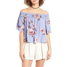 Women's Astr Esme Off The Shoulder Blouse ($72) ❤ liked on Polyvore featuring tops, blouses, periwinkle floral, ruffle blouse, off the shoulder ruffle top, frilly blouse, floral tops and floral print tops