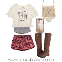 Minus the boots and purse I'd just wear flip flops lol