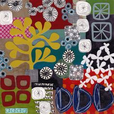 collage a sheet, then cut through it...or mola  jennifer judd-mcgee, mixed media collage