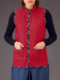 Buy Blue Floral Ajrakh Print Quilted Cotton Jacket Online