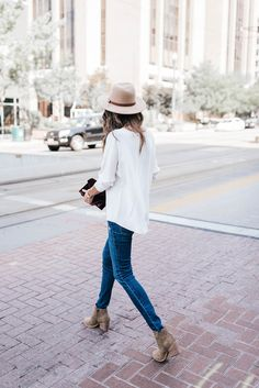suede booties + matching hat.