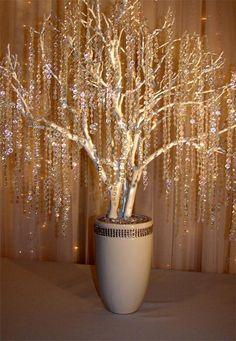 Manzanita tree with hanging crystals Wedding Centerpieces, Wedding Decorations, Wedding Ideas, Manzanita Tree Centerpieces, Hanging Decorations, Trendy Wedding, Diy Wedding, Willow Tree Wedding, Crystal Tree