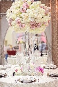 Tall All White and Pink Centerpiece Inspiration on Andre Winfrye Events