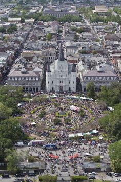 NOLA French Quarter from above. This incredible helicopter photo was taken by Zack Smith for French Quarter Festivals, Inc.