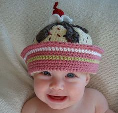 Crochet Ice Cream Sundae Bucket Beanie Hat - Picture Idea