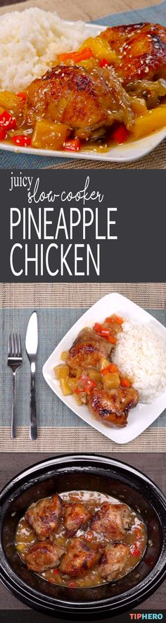 What's for dinner tonight? How about sweetening things up with this Juicy Slow Cooker Pineapple Chicken dish? Take your dinner on a tropical vacation with this Hawaiian-inspired pineapple chicken, stewed the slow cooker with a homemade brown sugar & honey glaze that tastes just like teriyaki. Plump pineapple chunks and bell pepper caramelize in the tangy sauce until they're bursting with sweet-and-sour flavor. Yum! Click for the video and recipe!