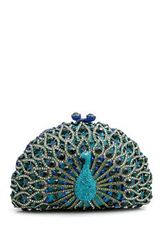Take your accessories to the next level with this stunning peacock clutch.