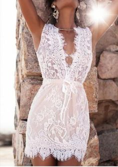 Solid Deep V-Neck Sexy Bodycon Lace Dress Dresses 2016 f9776c745