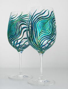 Peacock Wine Glasses-2 Piece Hand-Painted Collection by Mary Elizabeth Arts