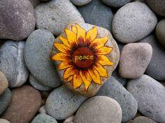 Sunflower Peace Rock Print by InnerSasa on Etsy Pebble Painting, Love Painting, Pebble Art, Stone Crafts, Rock Crafts, Rock And Pebbles, Sharpie Art, Love Rocks, Recycled Art