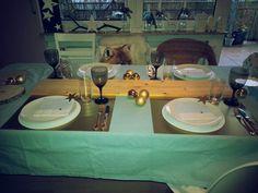 Käseabend mit Freunden - weihnachtlich, gold, hellblau