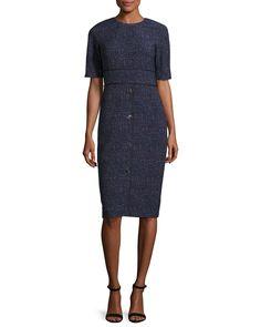 Printed Half-Sleeve Sheath Dress, Navy/Multi