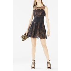 BCBGMAXAZRIA Cadee Lace Color-Blocked Dress featuring polyvore, women's fashion, clothing, dresses, black, scalloped dress, color block dress, sheer cocktail dress, pleated dress and cocktail dresses