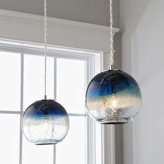 Sea and Sand Globe Art Glass Pendant Warm Purple Wave Pendant - Shades of Light Glass Pendant Shades, Globe Pendant Light, Glass Pendants, Blown Glass Pendant Light, Glass Light Shades, Mini Pendant Lights, Pendant Lamps, Glass Chandelier, Kitchen Lighting Fixtures