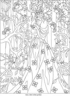 Dover Coloring Pages, Free Adult Coloring Pages, Coloring Books, Fairy Coloring, Tarot, Line Art Images, Line Art Vector, Line Artwork, Dover Publications
