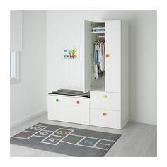 STUVA / FÖLJA Comb almacenaje con banco, blanco blanco 150x50x192 cm