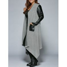 Just US$23.96 + free shipping, buy Black and grey Plus Size PU Patchwork Asymmetrical Coat online shopping at GearBest.com.