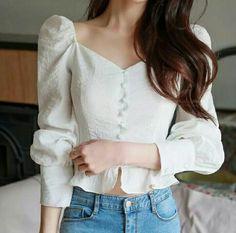 Korean Girl Fashion, Korean Fashion Trends, Ulzzang Fashion, Cute Fashion, Style Fashion, Girly Outfits, Stylish Outfits, Vintage Outfits, Dress Shirts For Women