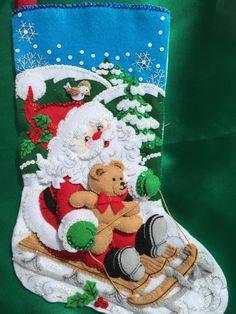 Bucilla Santa's Sled 18 Inch Felt Stocking Kit 86279 Copyright 2011 Unopened for sale online Felt Stocking Kit, Christmas Stocking Kits, Felt Christmas Stockings, Christmas Crafts, Hand Embroidery Kits, Felt Embroidery, Christmas Events, Christmas Party Games, Bear Felt