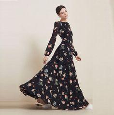 Купить товар2015 великолепная летний стиль набивные , рукава о образным шею лето женщины макси длинное платье хлопок шифон ну вечеринку платье в категории Платьяна AliExpress.     Женщины платье летнее платье летнее платье в стиле макси платье длинное платье