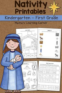 Download a Nativity Worksheet packet for your Kindergartner or First Grader! Includes math and phonics activities.
