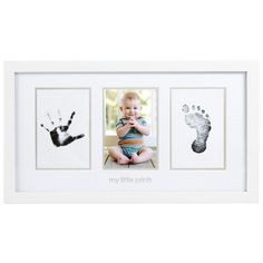 The Pearhead Babyprints Photo Frame is the perfect way to immortalize a new baby's arrival. This classic white wood frame features three panels for baby's photo, a hand print and foot print. www.rightstart.com