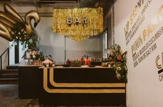 black and gold bar top