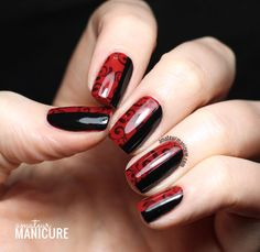 Red and Black Book Binding Nail Art via @amateurmanicure