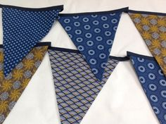 Bunting in gold and indigo Africans, Bunting, South Africa, Indigo, Crafty, My Love, Fabric, Gold, Tejido