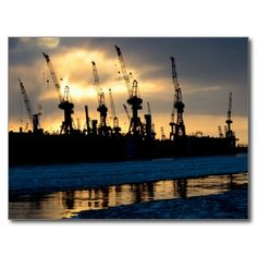 Hamburger Hafen Sonnenuntergang - Hamburg Postkarte