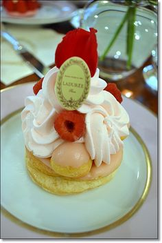 Choux pastry with rose flavoured custard