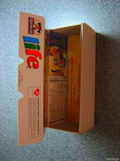 Instructions on how to make a gift box from a cereal box.
