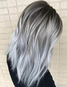 Perfect Combination of Grey & Silver Hair Colors for Are you ready to get the Stunning look with this Perfect Combination of Silver & Grey Hair Styles. Then check out here is the Gorgeous and Cutest look you can wear in Silver Hair is not just Grey Ombre Hair, Grey Wig, Silver Grey Hair, Silver Blonde, Platinum Blonde Hair, Silver Color, Silver Platinum Hair, Silver Ombre, Grey Hair Dyes
