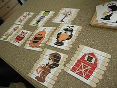 Puzzles...so easy to make. Buy a box of tongue depressors from pharmacy, they work better than icy pole sticks as they are larger. Print out any picture u like, cut it up and paste on sticks.