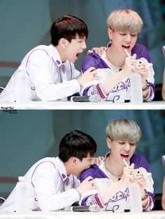 Jr biting yugyeom | haha I lov yugyeom reaction. . . No reaction.