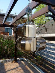 mid century modern danish smoked LUCITE hanging LAMP by CIRCA60, $175.00
