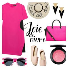 """Joie de Vivre"" by alexandrazeres ❤ liked on Polyvore featuring Versace, MICHAEL Michael Kors, Yves Saint Laurent, MAC Cosmetics, pinkandblack, fashionset and joiedevivre"