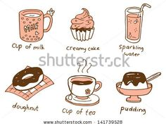 set of food and beverage in doodle style by mhatzapa, via ShutterStock