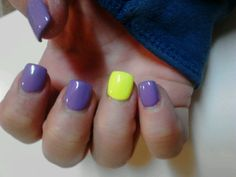 Purple with neon yellow..nails by stef