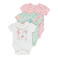 3 Pack Floral Bodysuits | Baby | George