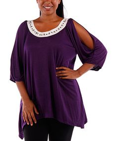 Eggplant Embellished Cutout Top - Plus