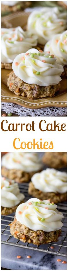 Carrot Cake Cookies via /sugarspunrun/ (Baking Cookies Funny) Carrot Cake Cookies, Yummy Cookies, Chocolate Chip Cookies, Yummy Treats, Sweet Treats, Carrot Cakes, Cookie Desserts, Easy Desserts, Delicious Desserts