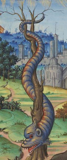 """""""The Serpent that cast Adam into a deep pit."""" ~ BNF, Département des manuscrits, Français 1537, fol. 21r., 16th century"""
